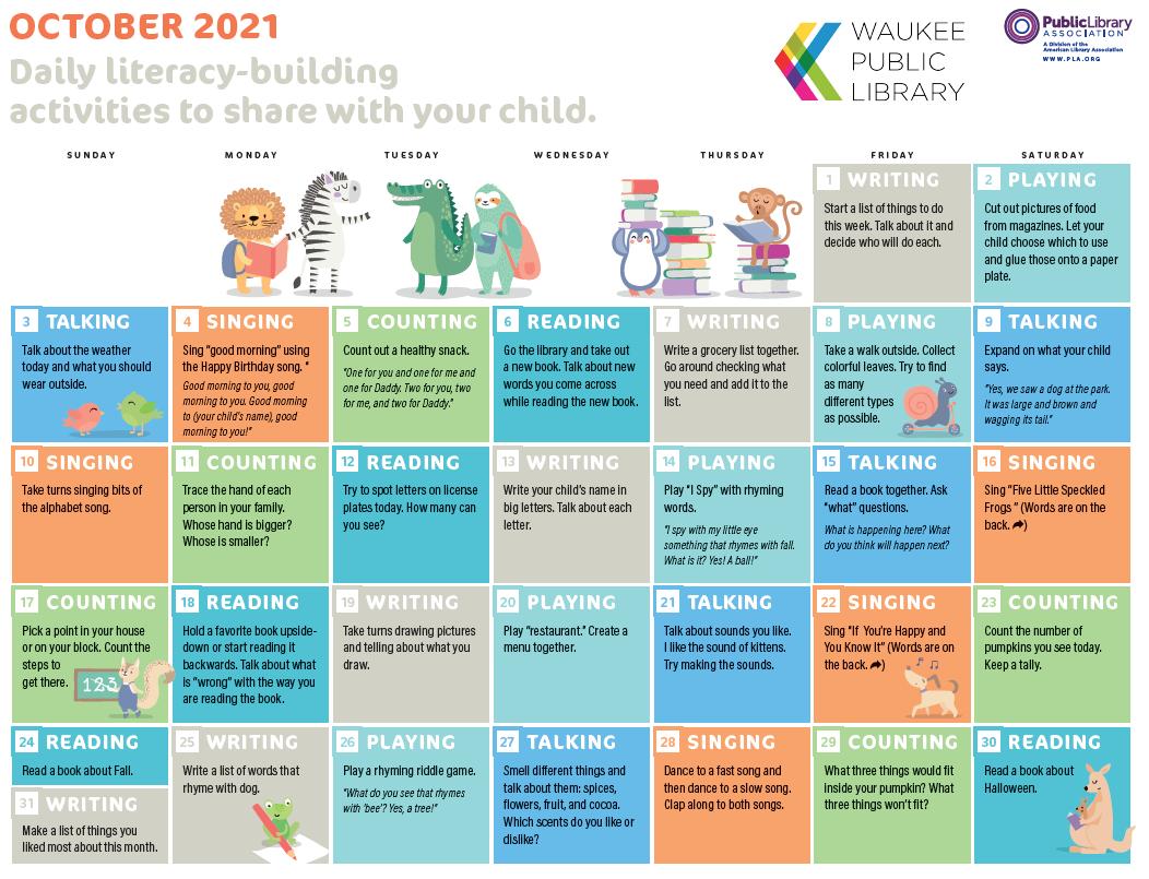 October 2021 early learning calendar.